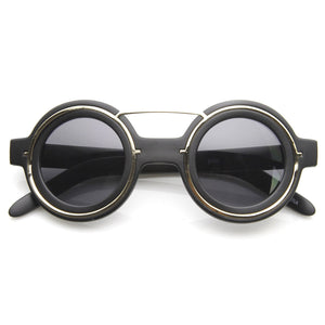 Open image in slideshow, Steampunk Fashion Round Sunglasses Metal Accents 8957 - A2Depot