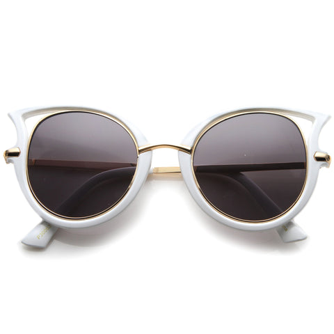 Temple Cut Out Round Cat Eye Sunglasses A058 - A2Depot