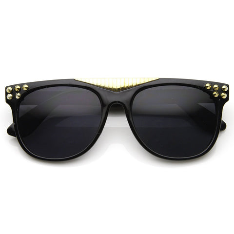 Trendy Fashion Retro Flat Top Spiked Horned Rim Sunglasses 8968 - A2Depot