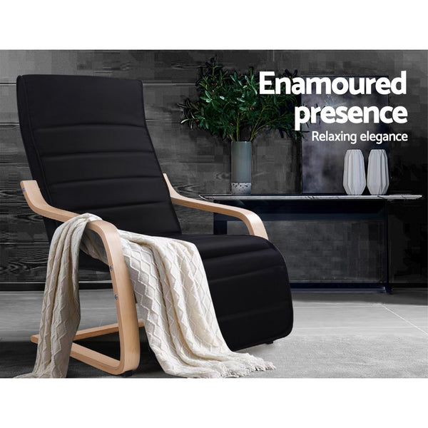 Fabric Rocking Arm Chair With Adjustable Footrest - Black - Furniture Living Room