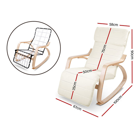 Birch Plywood Adjustable Rocking Lounge Arm Chair with Fabric Cushion Beige