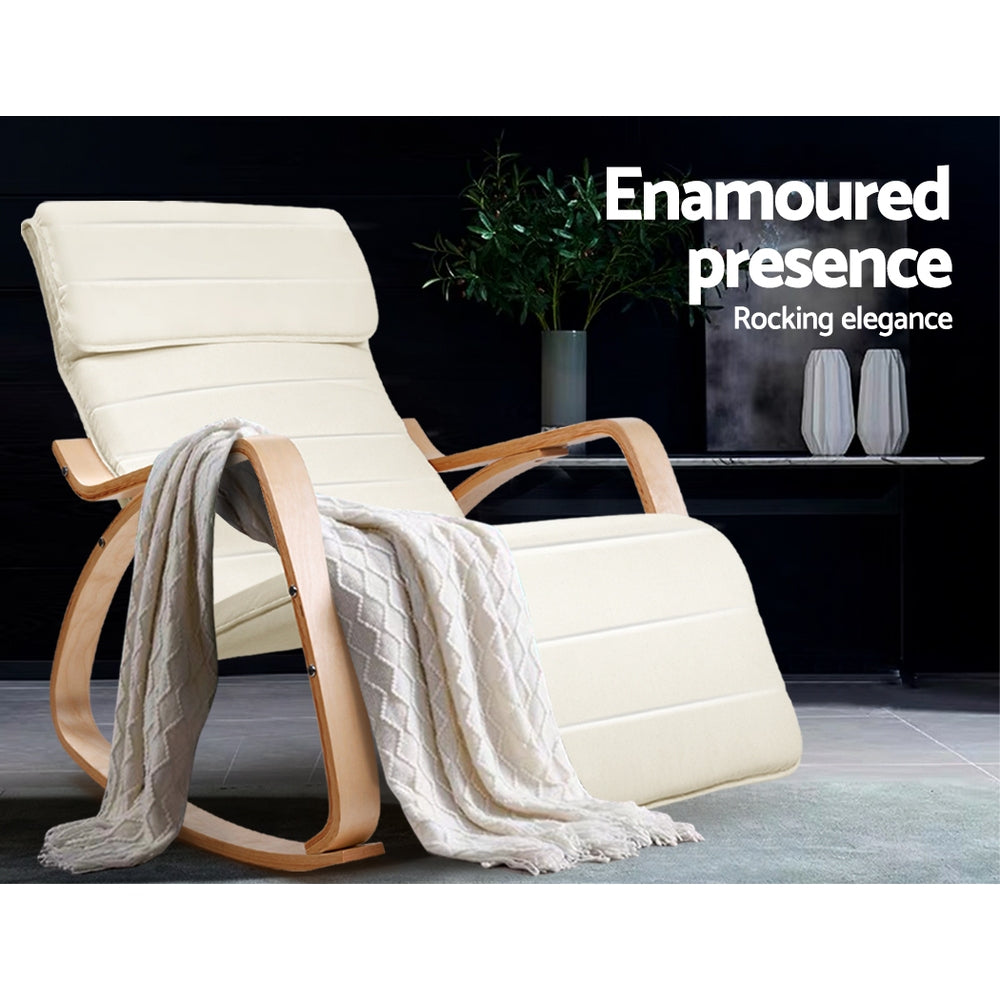 Birch Plywood Adjustable Rocking Lounge Arm Chair w/ Fabric Cushion Beige-Furniture, Living Room-NextFurniture