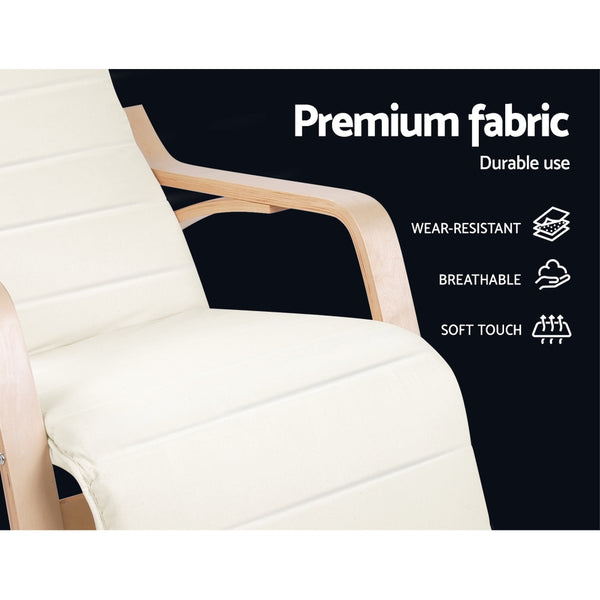 Fabric Rocking Arm Chair With Adjustable Footrest - Beige - Furniture Living Room