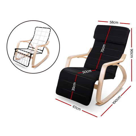 Birch Plywood Adjustable Rocking Lounge Arm Chair with Fabric Cushion Black