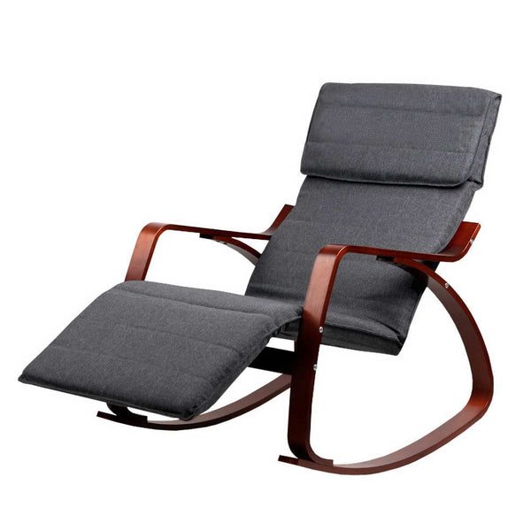 Fabric Rocking Arm Chair With Adjustable Footrest - Charcoal - Furniture Living Room
