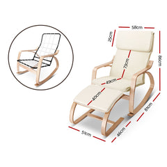 Birch Plywood Fabric Lounge Rocking Chair - Beige - with Foot Stool-Furniture, Living Room-NextFurniture