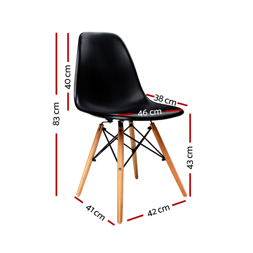 Set of 4 Replica Eames Eiffel Dining Chairs Black-Furniture, Dining-NextFurniture
