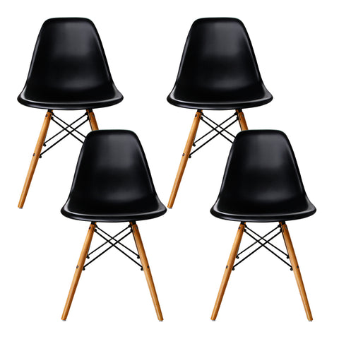 Set of 4 Replica Eames Eiffel Dining Chairs Black