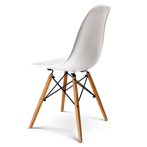 Set of 2 Replica Eames Eiffel Dining Chairs White - PP Seat