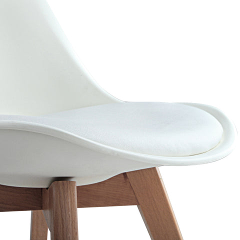 Set of 2 Dining Chair PU Leather Seat White