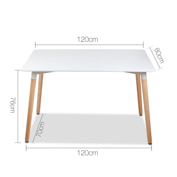 6 Seater Rectangular Beech Timber Dining Table - White - Furniture Dining