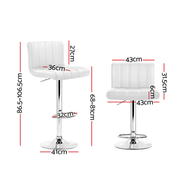 Artiss Set of 2 Line Style PU Leather Bar Stools - White