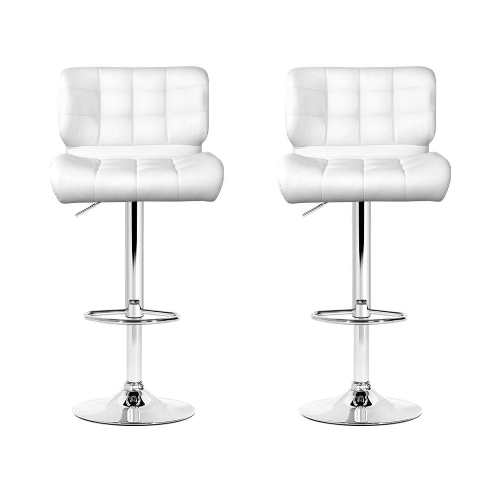 Set of 2 Leather Bar Stools - White-Furniture, Bar Stools & Chairs-NextFurniture