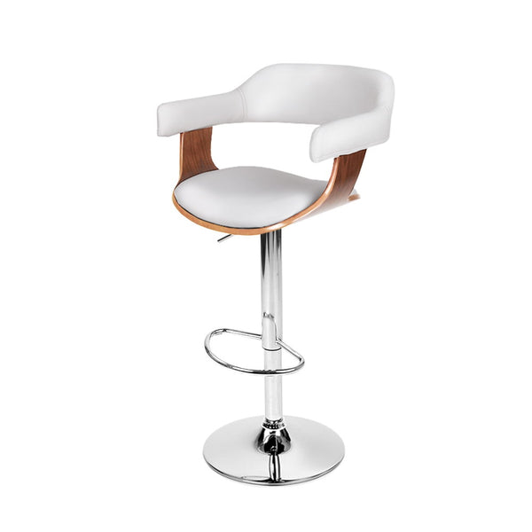 PU Leather Wooden Kitchen Bar Stool White