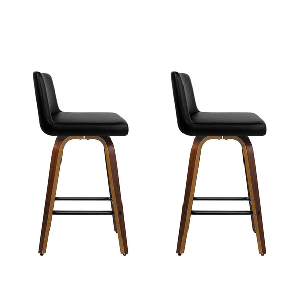 Artiss Set of 2 Wooden PU Leather Bar Stool - Black and Brown Wood Legs