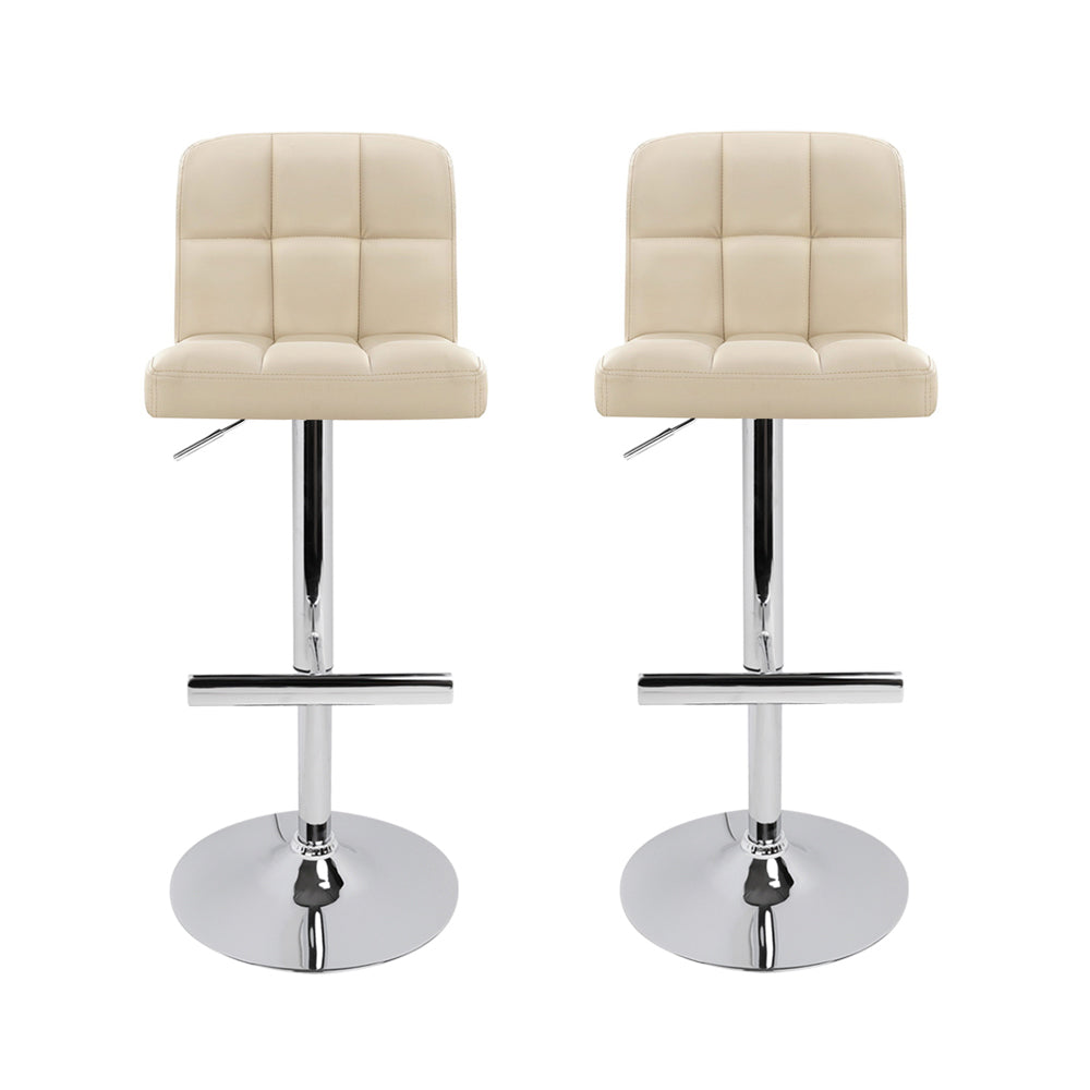 Set of 2 PU Leather Kitchen Bar Stool Beige-Furniture, Bar Stools & Chairs-NextFurniture