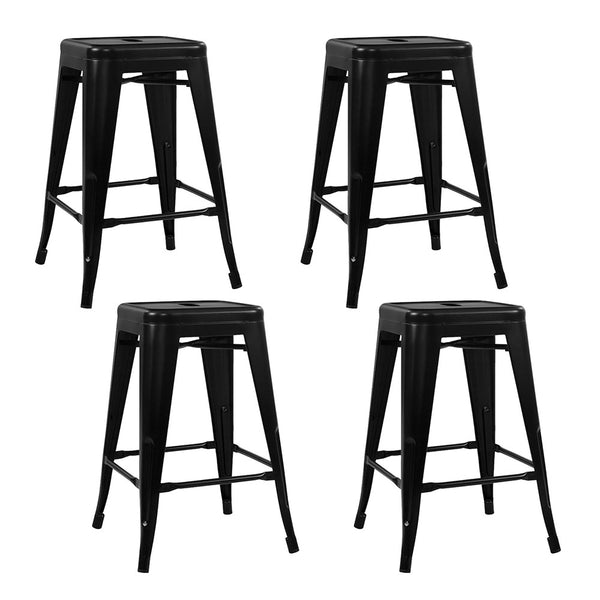 Set of 4 Replica Tolix Kitchen Bar Stool 66cm Black