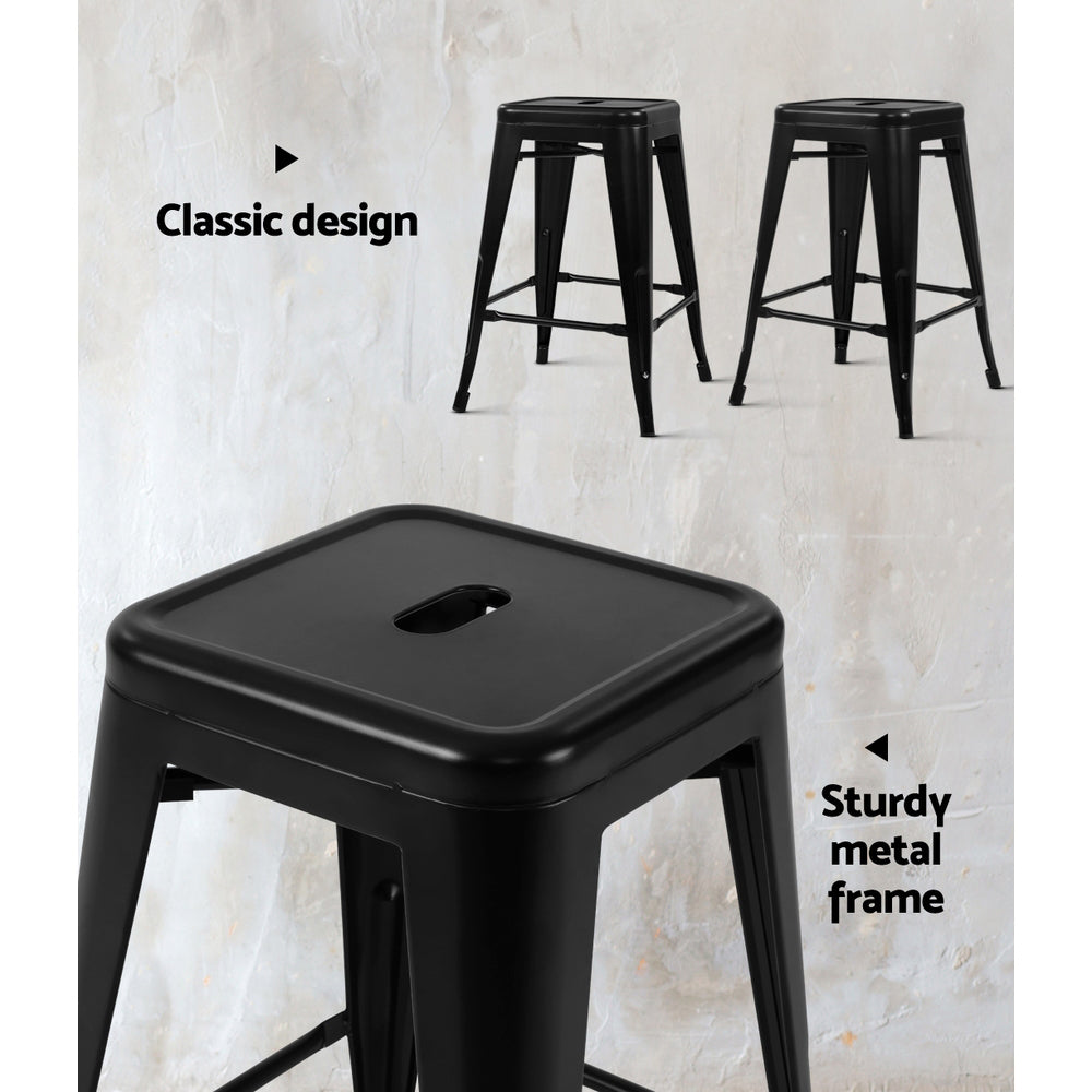 Set of 4 Replica Tolix Kitchen Bar Stool 66cm Black-Furniture, Bar Stools & Chairs-NextFurniture