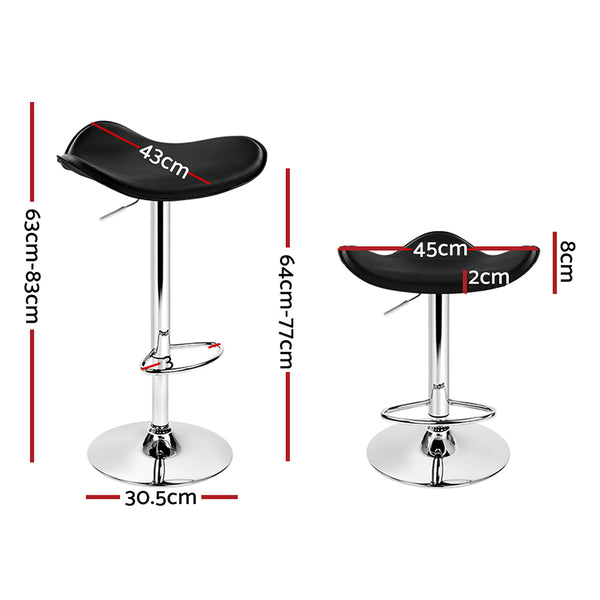 Artiss Set of 2 Gas Lift Bar Stools PU Leather - Black and Chrome