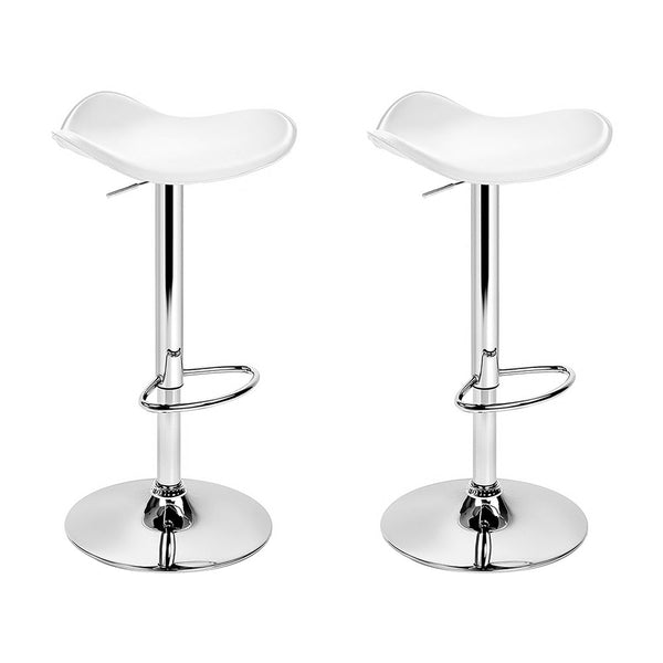 Artiss Set of 2 Gas Lift Bar Stools PU Leather - White and Chrome