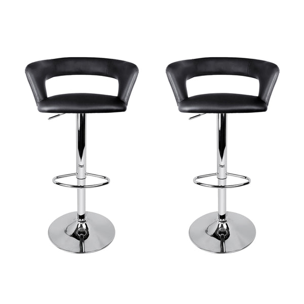 Artiss Set of 2 Gas Lift Swivel Bar Stool PU Leather - Chrome and Black