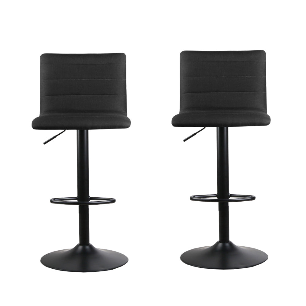 Set of 2 Linen Kitchen Bar Stool Black-Furniture, Bar Stools & Chairs-NextFurniture