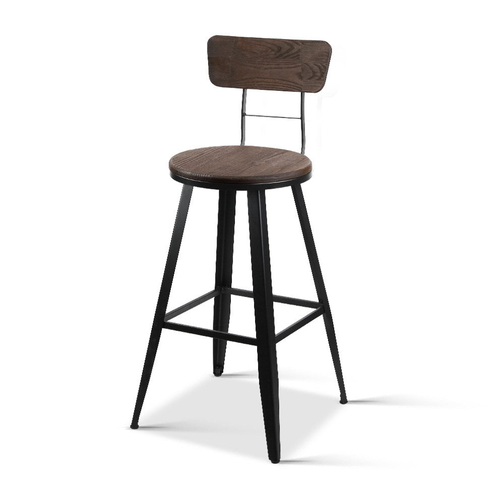 Industrial Bar Stool with Backrest 66cm