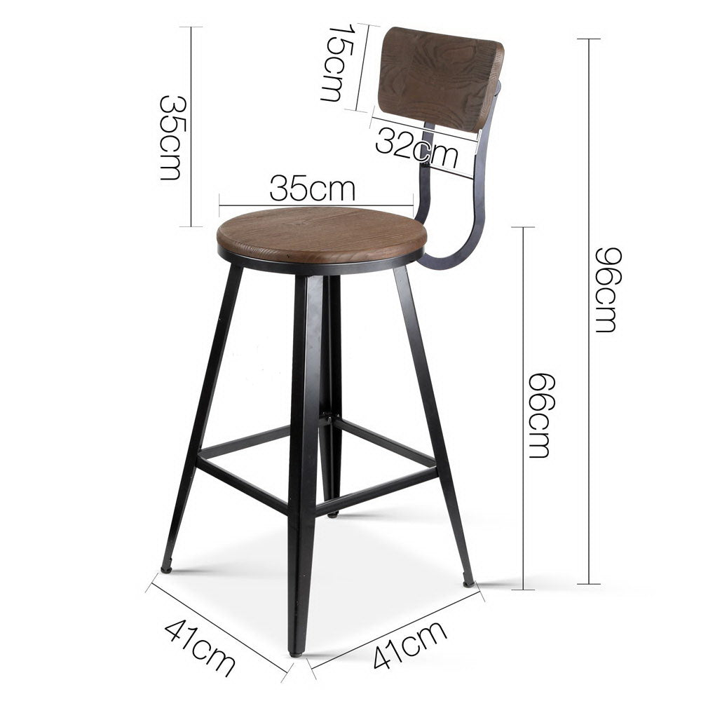 Industrial Bar Stool with Backrest 66cm-Furniture, Bar Stools & Chairs-NextFurniture