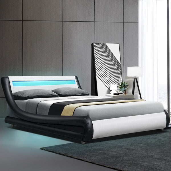 Artiss Alex LED Bed Frame PU Leather - Black White Queen