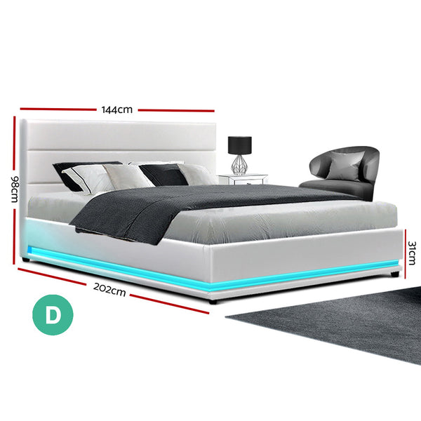 Artiss Lumi LED Bed Frame PU Leather Gas Lift Storage - White Double
