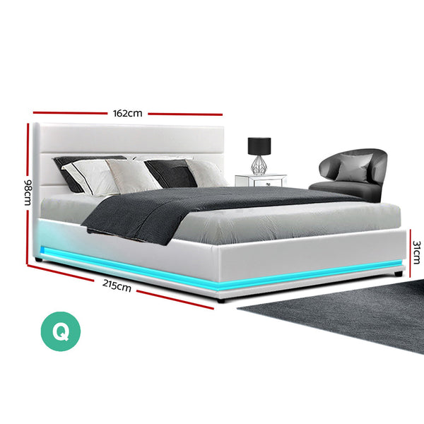 Artiss Lumi LED Bed Frame PU Leather Gas Lift Storage - White Queen
