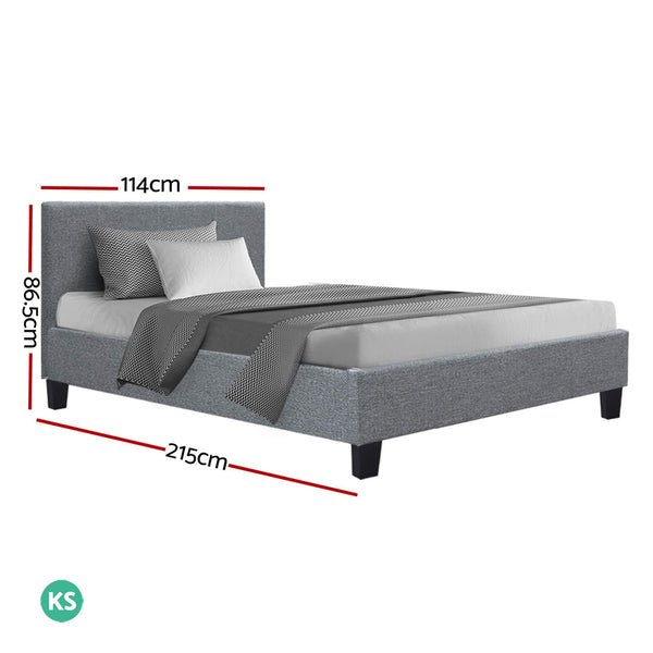 Artiss Neo Bed Frame Fabric - Grey King Single