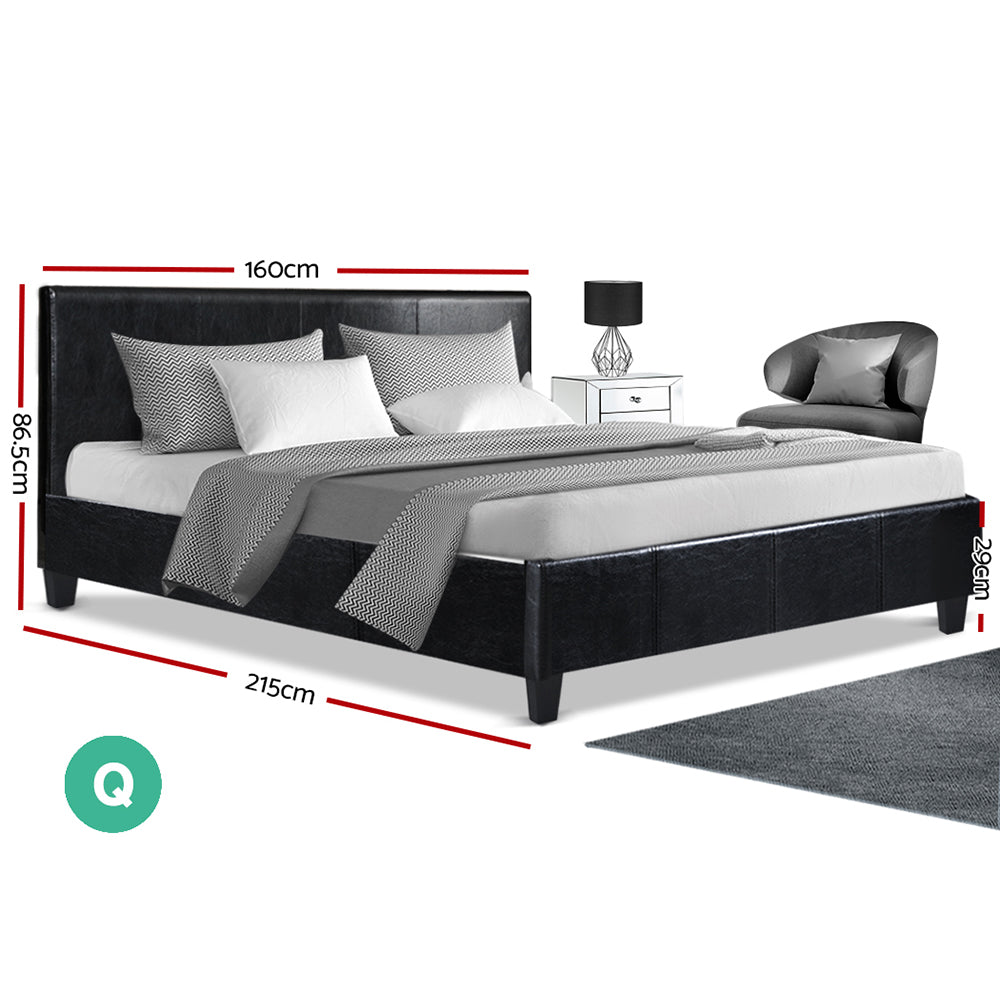 Queen PVC Leather Bed Frame Black-Furniture, Bedroom-NextFurniture