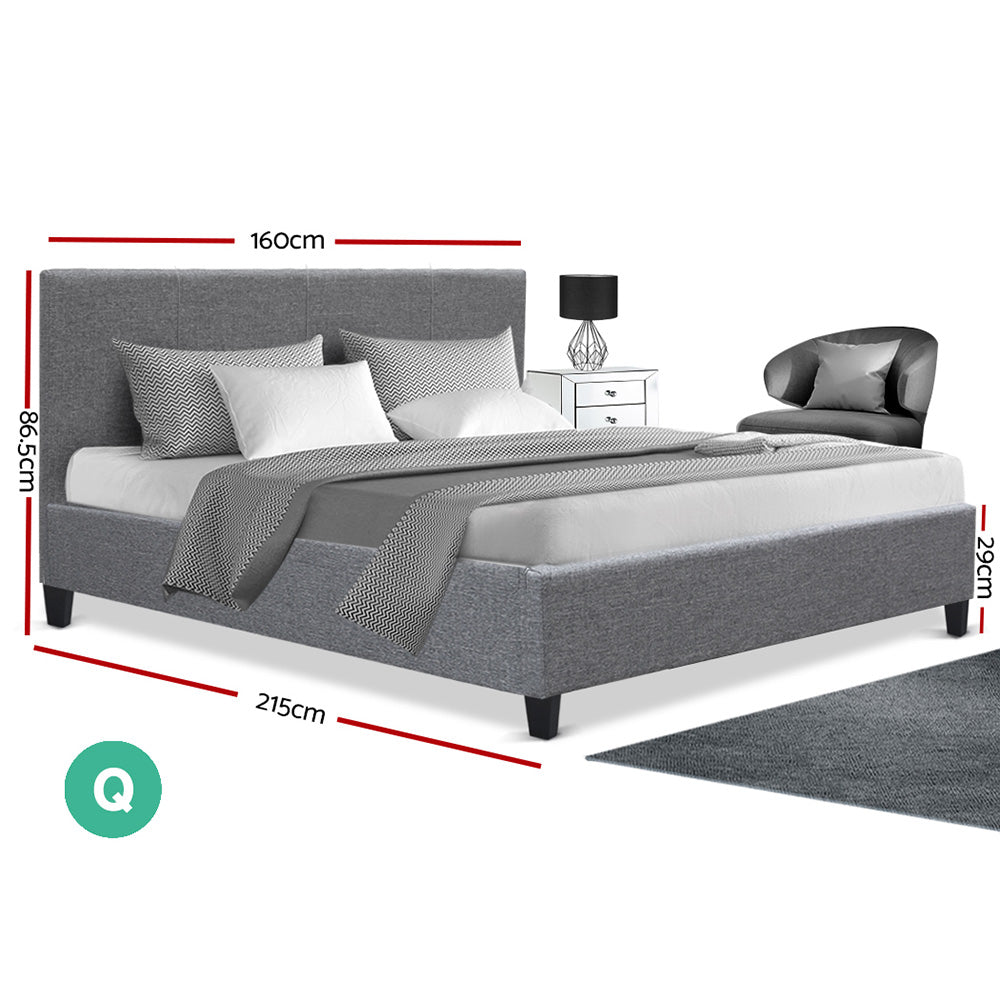 Queen Size FabricHeadboard Bed Frame - Grey