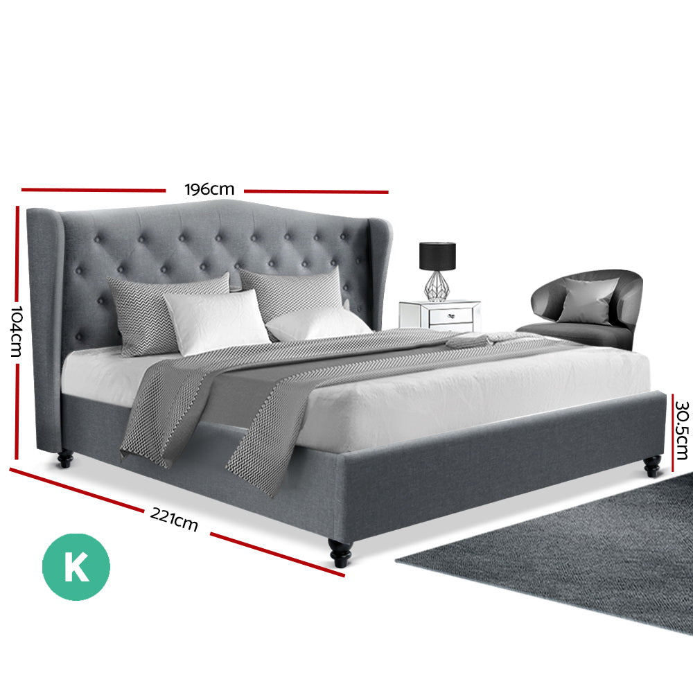 Artiss King Size Wooden Upholstered Bed Frame Headborad - Grey ...