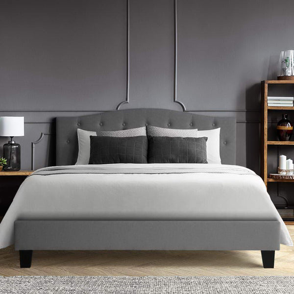 Bed Frame Double Size Base Mattress Platform Fabric Wooden Grey LARS