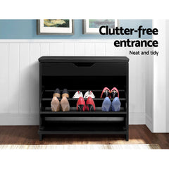 3 Tier Shoe Cabinet Storage Stool Black-Furniture, Living Room-NextFurniture
