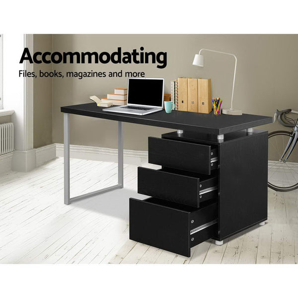 Artiss Metal Desk with 3 Drawers - Black
