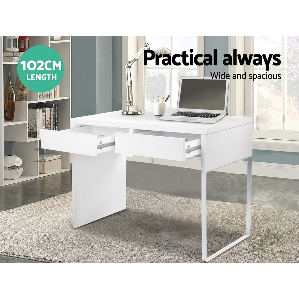 Office Computer Desk Table w/ Drawers White-Furniture, Office-NextFurniture