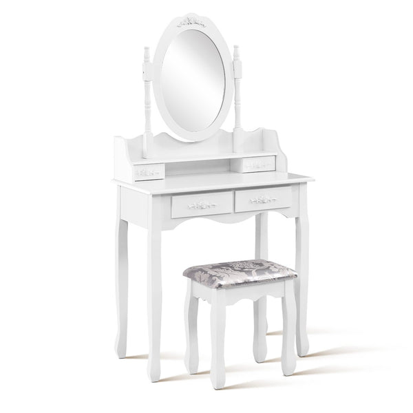 4 Drawer Dressing Table With Mirror - White - Furniture Bedroom