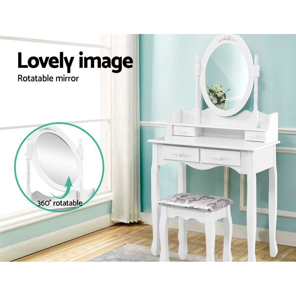 4 Drawer Dressing Table w/ Mirror White-Furniture, Bedroom-NextFurniture