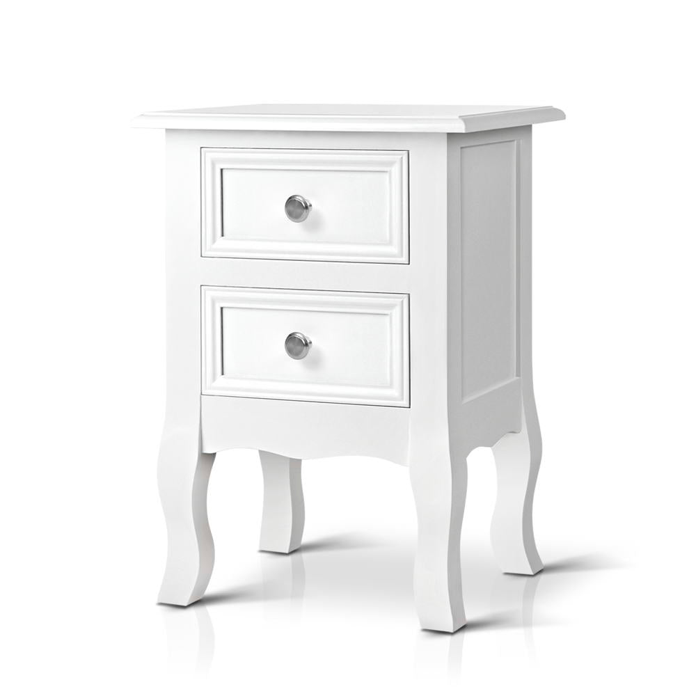 Vintage Style Bedside Side Table with 2 Drawers - White