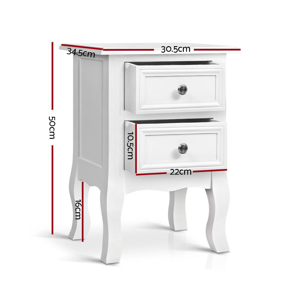 Vintage Style Bedside Side Table with 2 Drawers - White-Furniture, Bedroom-NextFurniture