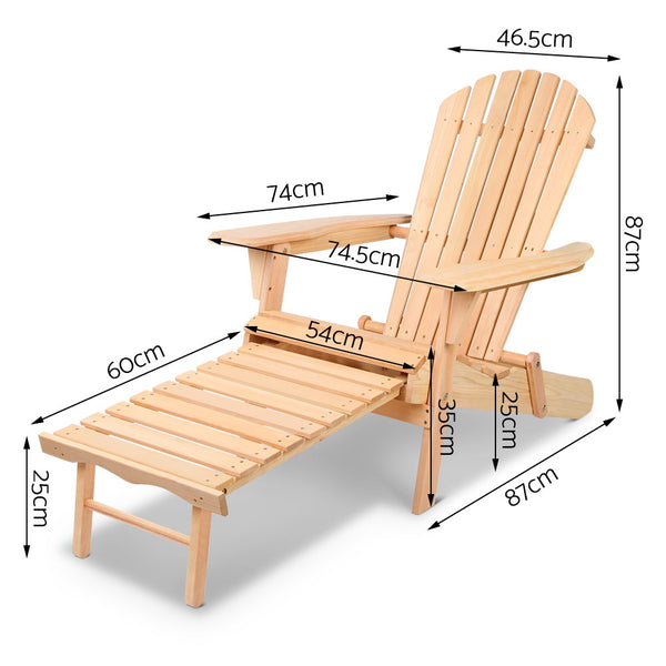 Outdoor Wooden Foldable Chair With Ottoman - Furniture Outdoor