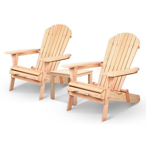 3 Piece Wooden Outdoor Lounge Beach Chair And Table Set - Furniture Outdoor