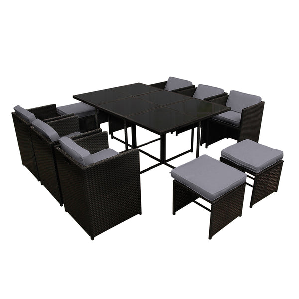 Gardeon 11 Piece PE Wicker Outdoor Dining Set - Black