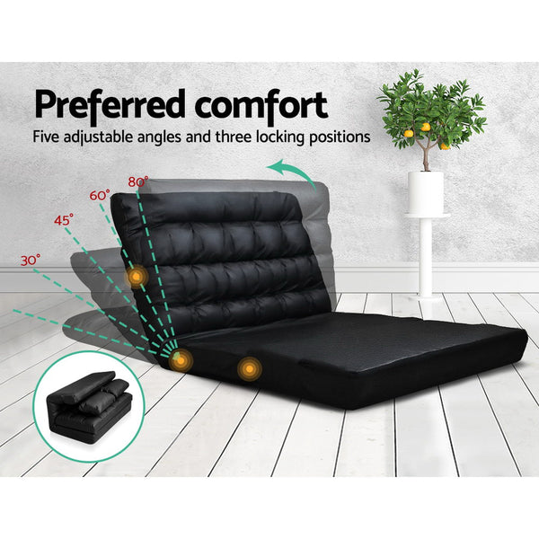 Artiss 2-seater Adjustable Lounge Sofa - Black