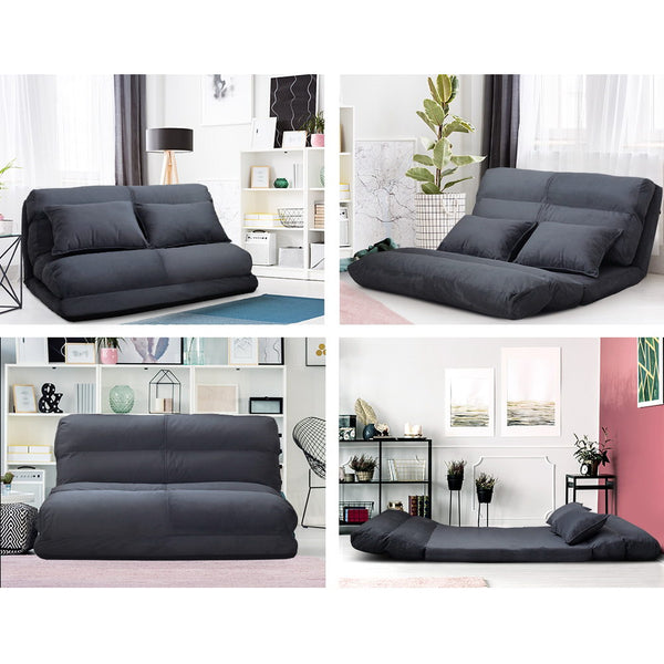 Artiss Lounge Sofa Bed Floor Recliner Chaise Chair Folding Adjustable Suede
