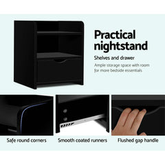 Bedside Table Drawer Black