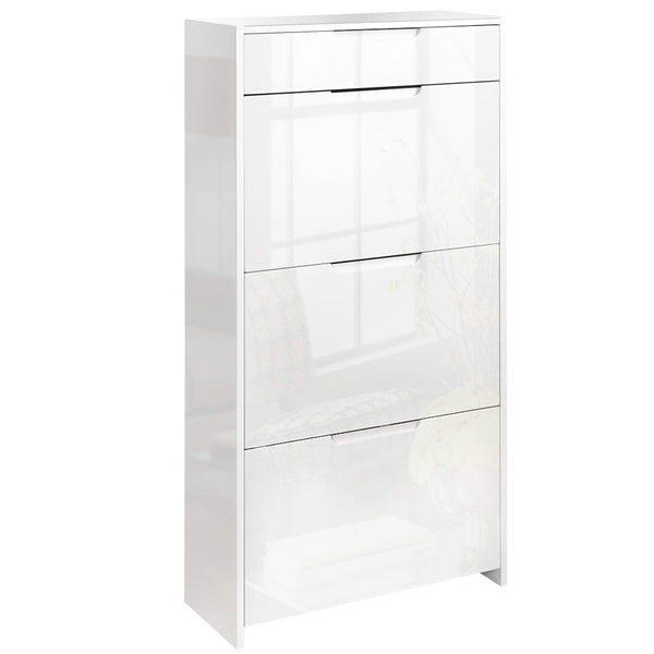 24 Pair High Gloss Wooden Shoe Cabinet - White - Furniture Living Room